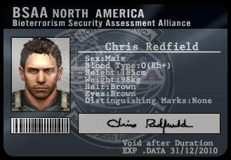 chris redfield bsaa id card