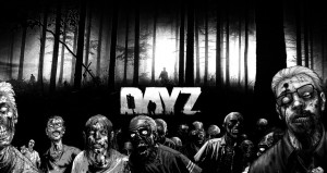 Day z title card with walking dead zombies
