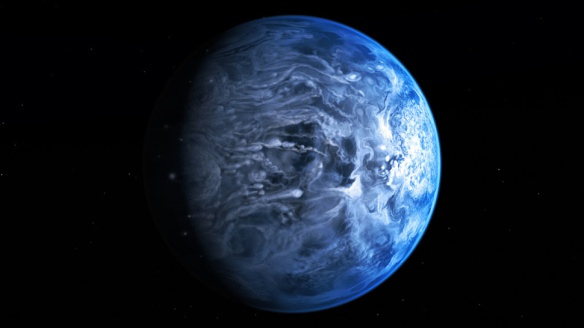Artists impression of blue Exoplanet discover by Hubble telescope
